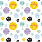 pic of windy weather  - Unusual seamless vector childish pattern with cartoon and funny smiley weather icons - JPG
