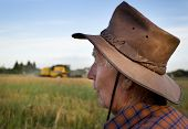 image of combine  - Proud old peasant standing on field with combine in background - JPG