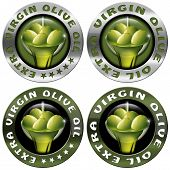 image of olive shaped  - Collections of four round icons or symbol with green olives and oil text Extra virgin olive oil and five stars - JPG
