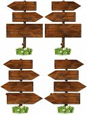 stock photo of ladybug  - Collection of wooden signs with directional arrow and pole - JPG