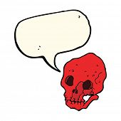 picture of spooky  - cartoon spooky skull with speech bubble - JPG