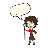 image of spears  - cartoon crazy woman with spear with speech bubble - JPG