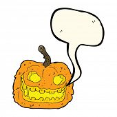 foto of spooky  - cartoon spooky pumpkin with speech bubble - JPG
