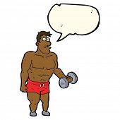 image of weight lifter  - cartoon man lifting weights with speech bubble - JPG
