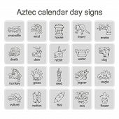 stock photo of aztec  - set of monochrome icons with Aztec calendar Day signs for your design - JPG
