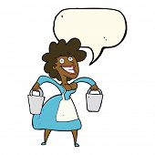 stock photo of milkmaid  - cartoon milkmaid carrying buckets with speech bubble - JPG