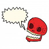 stock photo of spooky  - cartoon spooky skull with speech bubble - JPG