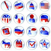 stock photo of midterm  - Set of glossy round buttons about politics - JPG