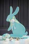 image of easter eggs bunny  - Easter decoration with egg and an Easter Bunny - JPG