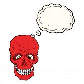 foto of spooky  - cartoon spooky skull with speech bubble - JPG