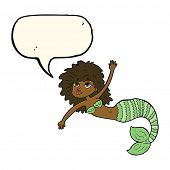 picture of mermaid  - cartoon pretty mermaid waving with speech bubble - JPG
