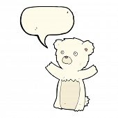 picture of bear cub  - cartoon polar bear cub with speech bubble - JPG