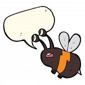 image of bee cartoon  - cartoon frightened bee with speech bubble - JPG