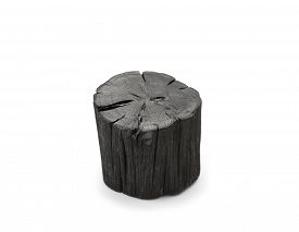 picture of charcoal  - Hardwood charcoal Isolated on white - JPG