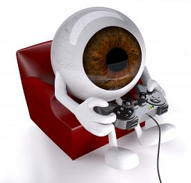 picture of controller  - eyeball on armchair with arms legs and game controller on hands that is playing - JPG