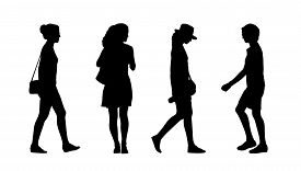 picture of ordinary woman  - silhouettes of ordinary young adult women walking outdoor summertime - JPG