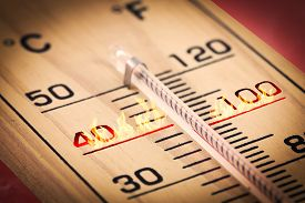 stock photo of temperature  - Close-up hot high temperature fahrenheit or celsius.