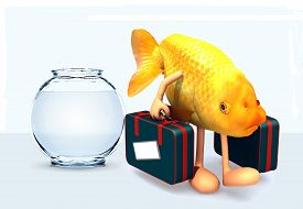 foto of fishbowl  - red fish with arms and legs that take a suitcase and leave fishbowl 3d illustration - JPG
