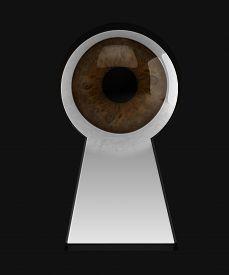 stock photo of keyholes  - eye in keyhole on black background 3d illustration - JPG