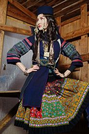 pic of national costume  - Young Girl in National Northen Vietnam Tribal Costume  - JPG