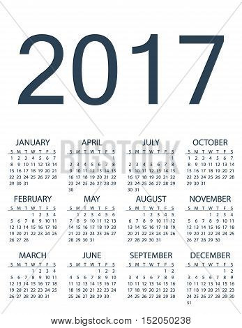 simple calendar for 2017 vector template design monthly date