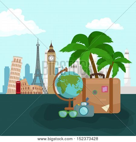 poster of Travel concept. Travel bag. Travel passport. Travel camera. Travel ticket. Travel airplane. Travel Isometric Travel flat. Travel 3d. Travel vector. Travel illustration. Travel insurance Travel luxury