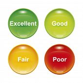 A set of four survey icons red yellow green