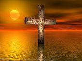 Old Rusted Cross On Open Sea - Digital Illustration