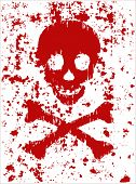 vector grunge red scull
