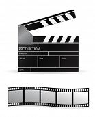 vector clapboard and film strip