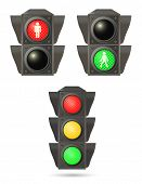 stock photo of traffic light  - vector traffic lights set - JPG