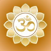 stock photo of nepali  - gold om symbol on flower - JPG