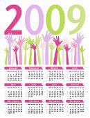 Bright 2009 calendar vector.
