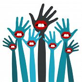 Diseño de partido de manos de labio.