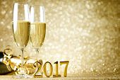 New years eve celebration background with champagne poster