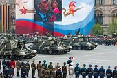 MOSCOW - MAY 6: Self-propelled Howitzer MSTA. Dress rehearsal of Military Parade on 65th anniversary of Victory in Great Patriotic War on May 6, 2010 on Red Square in Moscow, Russia