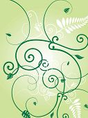 Illustration of a floral wallpaper design with leaves and vines