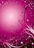 Inter galáctico fundo floral em magenta com estrelas