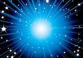 Futuristic space background design in blue and white