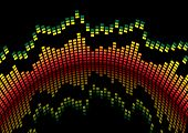 Graphical equaliser readout in red and yellow and black background
