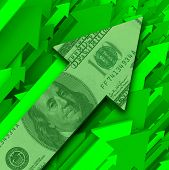 stock photo of bill-of-rights  - A series of green arrows shoot upward to the right with one in front featuring a hundred dollar bill symbolizing rising prices or growth in investment - JPG