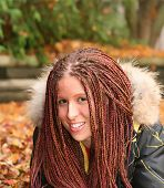 pic of cornrow  - Beautiful mixed race girl with long hair in corn rows - JPG