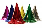 stock photo of party hats  - Isolated birthday party hats - JPG