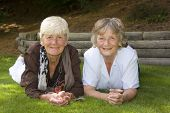foto of senior-citizen  - Two ladies in their sixties - JPG