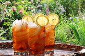 Summer lemon ice tea in the garden.