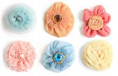 picture of glass-wool  - Six handmade flowers made from a variety of craft fabrics - JPG