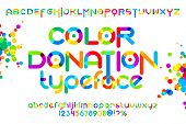 Round font set. Color donation typeset. Vector colorful alphabet poster