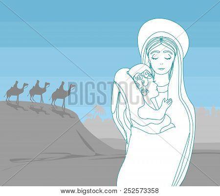 Madonna And Child Jesus Landscape
