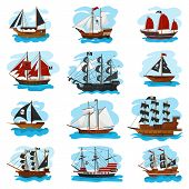 Piratic Ship Vector Pirating Boat Vessel Sailboat And Powerful Piratical Speedboat Illustration Mari poster
