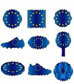 Flag Of The European Union, Icons Of Colors Of The Flag Of The European Union poster